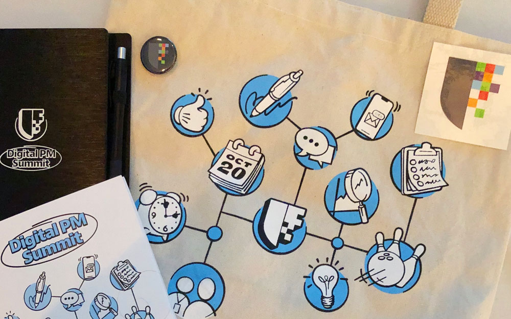 Digital PM Summit Cover Image - Includes swag DPM Notebook, Pamphlet, sticker, and Tote Bag.