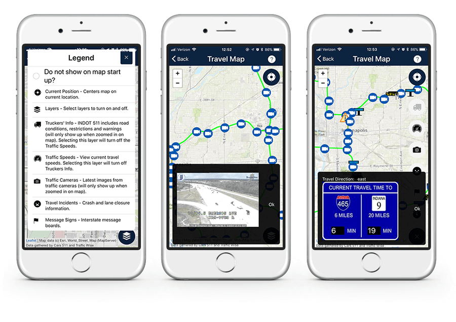 INDOT app with traffic camera images