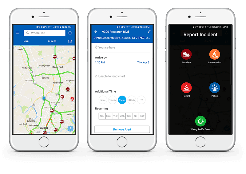 INRIX traffic map and GPS mobile app screens