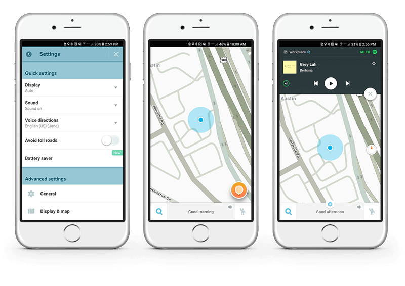 Waze App with settings and Spotify access