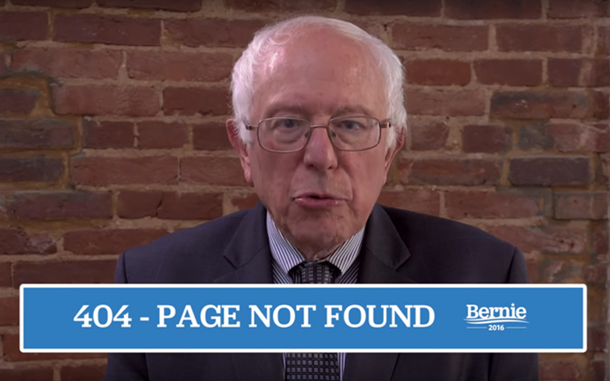 A photo related to presidential candidate 404 pages