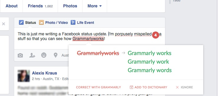 Here's an example of Grammarly's free plugin in action.