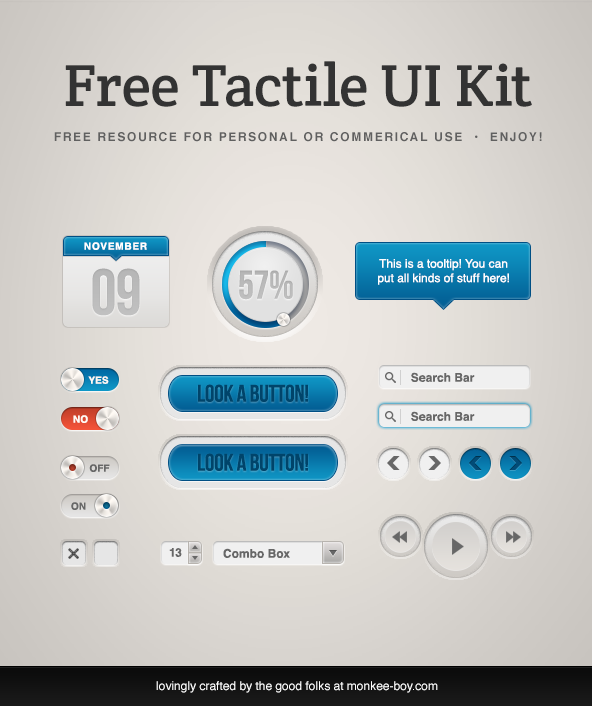 Free Tactile UI Kit PSD