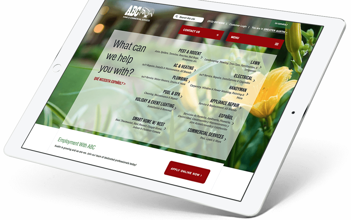 ABC Home and Commercial Services website tablet view