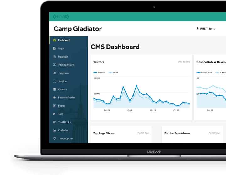 Camp Gladiator - M-Pire Enterprise CMS Dashboard
