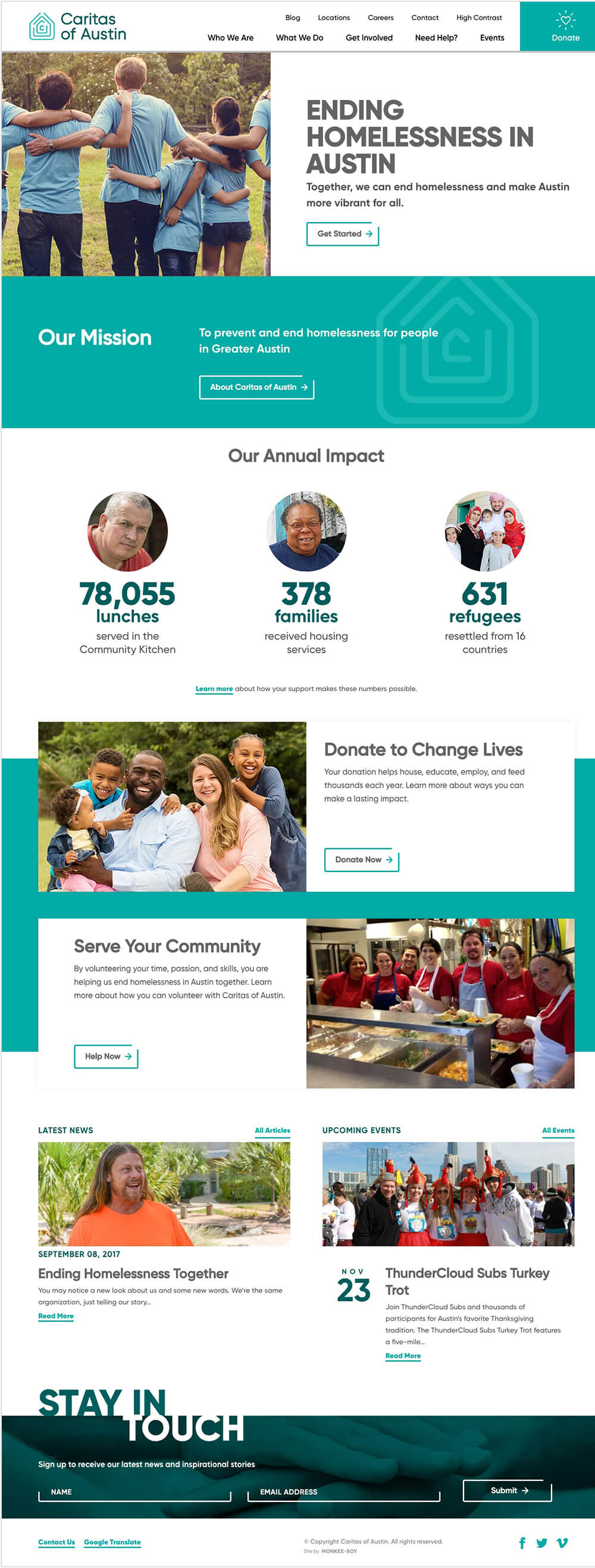 Homepage view of the Caritas of Austin website.