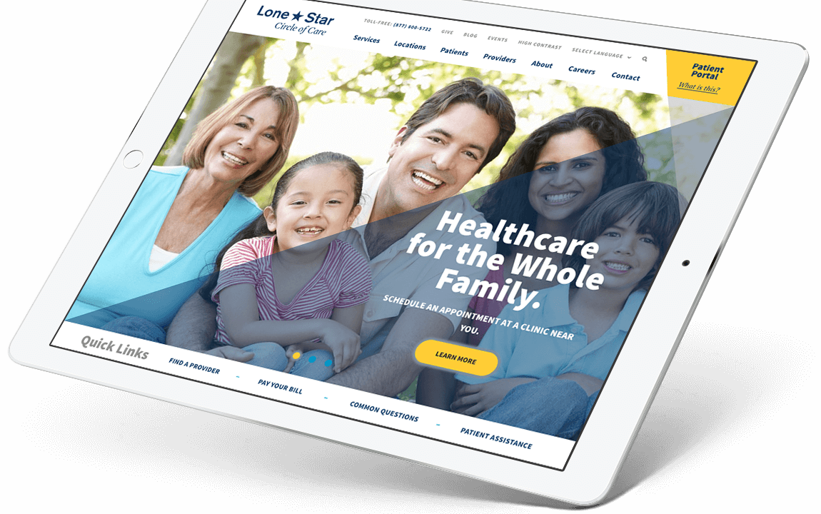 Lone Star Circle of Care tablet view