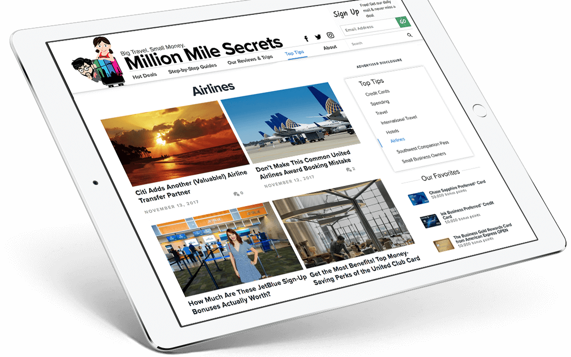 Million Mile Secrets website tablet view