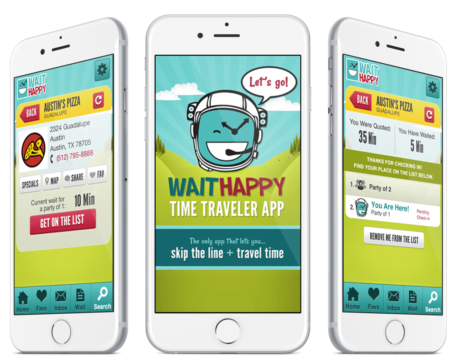 WaitHappy mobile view.